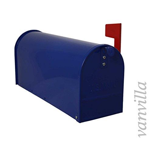 vanvilla US Mailbox Amerikanischer Briefkasten Standbriefkasten Postkasten Stahl HPB1900 blau
