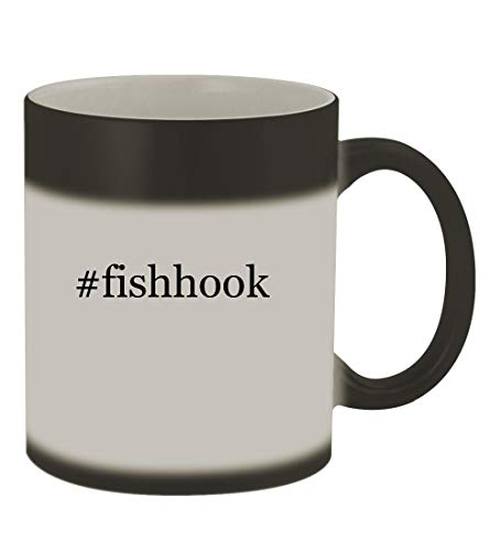 #fishhook - 11oz Color Changing Hashtag Sturdy Ceramic Coffee Cup Mug, Matte Black