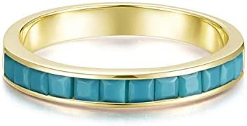 Ring Size 6 7 8 AGVANA Gold Filled Created Turquoise Ring Fashion Jewelry Gifts for Women and Girls