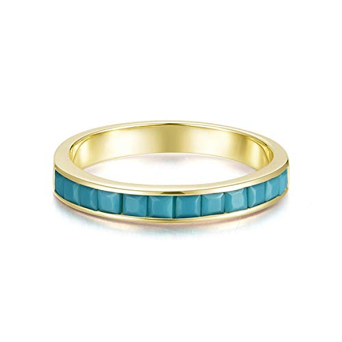 AGVANA Yellow Gold Filled Channel Setting Synthetic Turquoise Ring Jewerly for Women and Girls, Ring Size 8