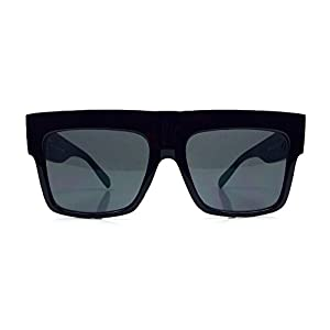 Vintage Square Flat Top Black Thick Frame Black Dark Lenses Sunglasses ZZ Top