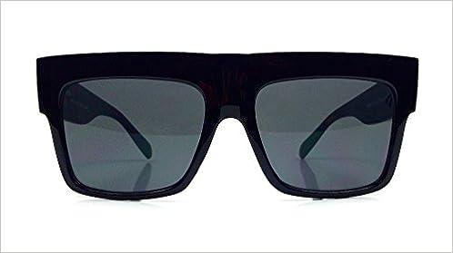 383848049aab8 Amazon.com  Vintage Square Flat Top Black Thick Frame Black Dark Lenses Sunglasses  ZZ Top (0718725538691)  Books