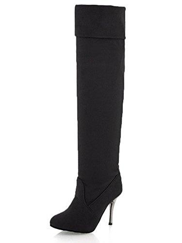 Mujer Negro Minetom Sólido Biker Alto Rodilla Botas Otoño Color Zapatos Tacón Botas Invierno Largas Botas Estiramiento dZSaq