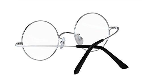Agstum Pure Titanium Retro Round Prescription Eyeglasses Frame 44-24-140 (Silver, 44mm)