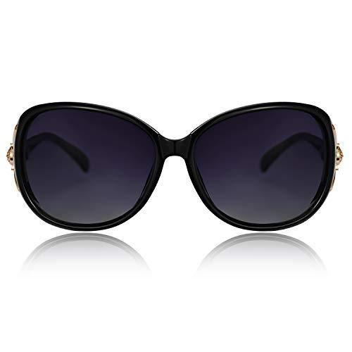 VEGOOS Oversized Sunglasses for Women Polarized UV Protection Retro Ladies Designer Shades Small Face (Black Frame/Gradient Grey Lens)