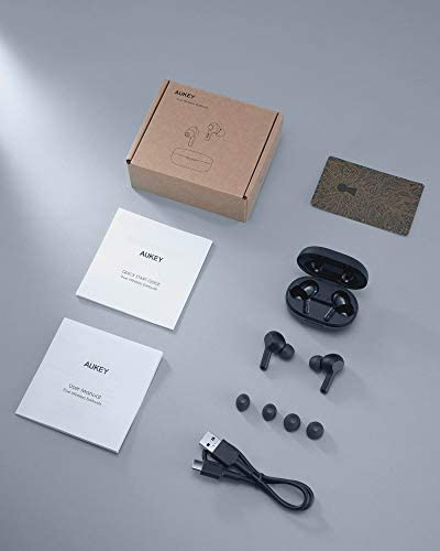[Upgraded] AUKEY True Wireless Earbuds, Bluetooth 5 Headphones, USB-C Quick Charge, IPX5 Waterproof, 25H Playtime, One-Step Pairing, Hi-Fi Stereo Earphones for iPhone and Android