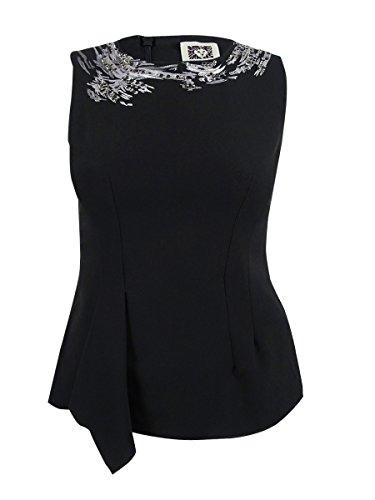 Anne Klein Women's Embellished Cascade Front Blouse, Black, ()