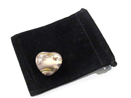 Zentron Crystal Collection: 30MM Mookaite Puff Heart All Natural Polished Pocket Gemstone Crystal with Velvet Pouch