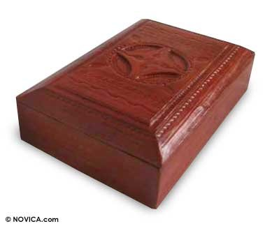 NOVICA Decorative Sese Wood Leather Jewelry, Box Brown, 'African Shield' by NOVICA