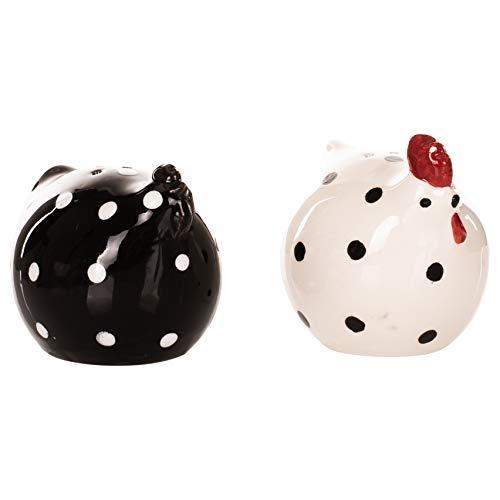Little Chicken Décor Black and White 3 x 2 Ceramic Salt and Pepper Shaker Set - Polka Dot Ceramic