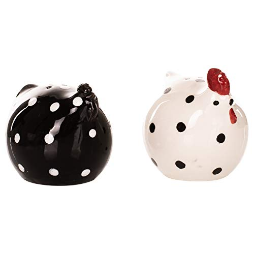 - Little Chicken Décor Black and White 3 x 2 Ceramic Salt and Pepper Shaker Set