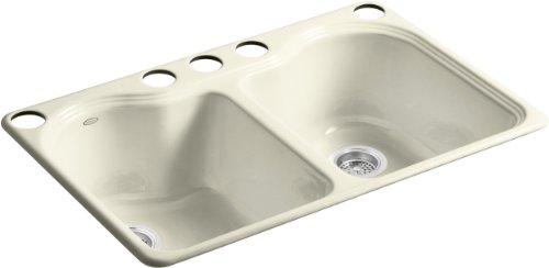 Kohler K-5818-5U-FD Hartland Double Equal Undercounter Sink with Five-Hole Faucet Drilling, Cane Sugar