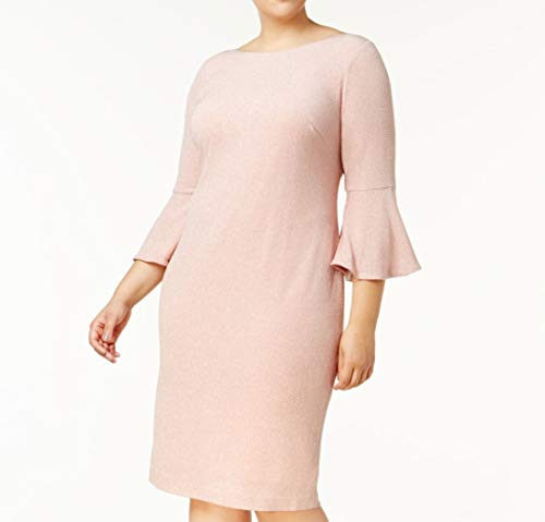 (Calvin Klein Womens Plus Bell Sleeve Shimmer Party Dress Pink 14W)