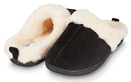 Floopi Womens Indoor Outdoor Soft Velvet Plush Fur Lined Clog Slipper W/Memory Foam (L, Black-309)