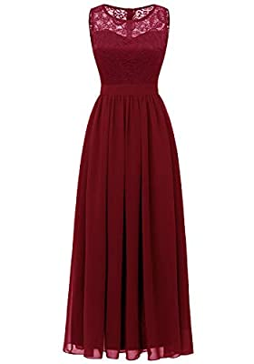 Dressystar Women's Lace Chiffon Bridesmaid Dress Sleeveless Formal Wedding Party Dress