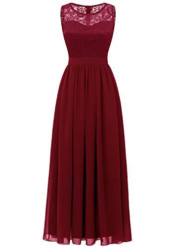 (Dressystar 0046 Lace Chiffon Bridesmaid Dress Sleeveless Formal Wedding Party Dress Dark Red L)