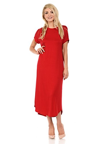 Solid and Midi Sleeve Floral luxe Women's Dress Line iconic Print Short Red A A84qYz