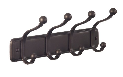 InterDesign York Lyra Wall Mount Storage Rack – Hanging Hooks for Jackets, Coats, Hats and Scarves - 4 Dual Hooks, Bronze - HOME ORGANIZER: Attractive storage rack with stylish round finials and smooth bronze powder coating. HANGING SPACE: 4 double hooks - storage for hats, coats, scarves, baseball caps and dog leashes. MANAGE YOUR SPACE: Utilize empty walls - storage rack wall mounts easily, all hardware included. - entryway-furniture-decor, entryway-laundry-room, coat-racks - 31R7EuqAAUL -