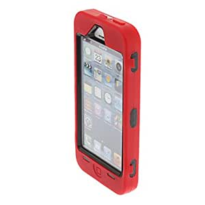Fashion Dustproof Design Detachable Plastic and Silicone Hybrid Case Cover for iPhone 5/5S(Assorted Color) --- COLOR:Red