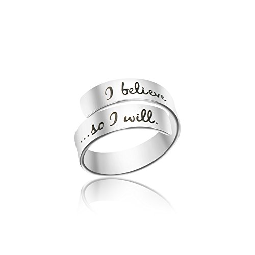 Engraved Rings for Women Inspirational Message Adjustable Ring Birthday Jewelry for Girls(I Believe i can. so I Will)