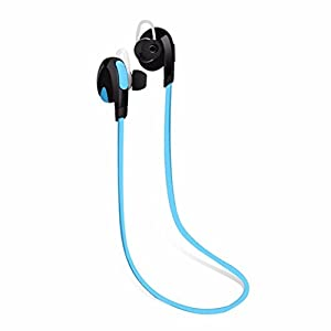 Aobiny Earphone Bluetooth Wireless Handfree Headset Stereo Headphone Earphone Sport Universal (Blue)