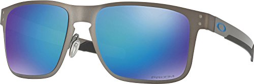 Oakley Holbrook Metal Polarized Iridium Square Sunglasses, Matte Gunmetal w/Prizm Sapphire Polarized, 55 - Polarized Lenses Oakley Holbrook Grey