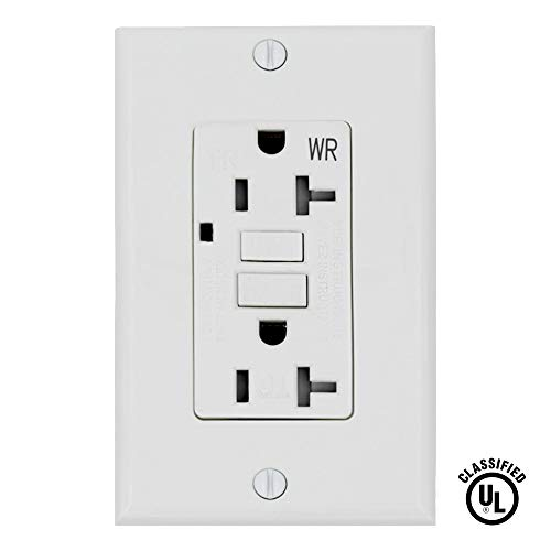 ESD Tech 20 Amp GFCI Outlet Wall Receptacle – Tamper Resistant and Weather Resistant Duplex with LED Indicator Light. UL Listed and Comes with Wall plate and Screws (Single) ()