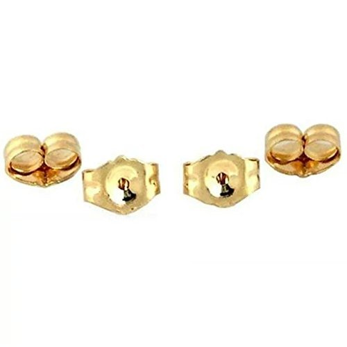 14K Gold Earring Backs - 4 Piece Replacement Earring Backs (Gold Yellow Replacement 14k)