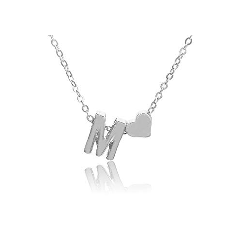 (WLLAY Fashion Tiny Dainty Love Heart Initial Necklace Personalized Letter Necklace Name Jewelry for Women Accessories Girlfriend Gift (Silver M))