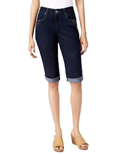 Style & Co. Petite Embellished Curvy-Fit Denim Bermuda Shorts (Rinse, 10P)