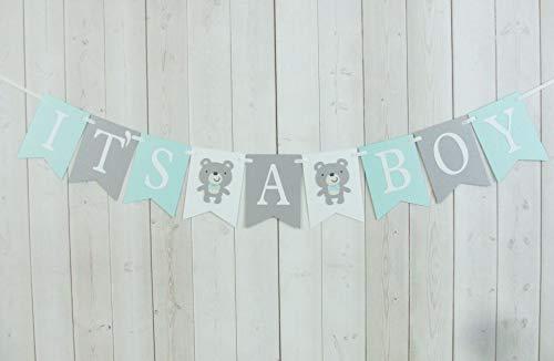 Teddy Bear It's A Boy Baby Shower Party Banner Sign Aqua Blue Grey Woodland -