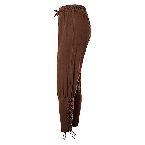 JoyeArt Men's Ankle Banded Pants Medieval Viking Navigator Trousers Renaissance Pants (L, Brown)]()