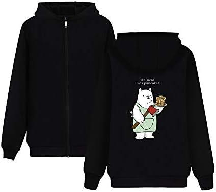 We Bare Bears Solid Color Casual para hombres y mujeres con cremallera impresa sudadera con capucha