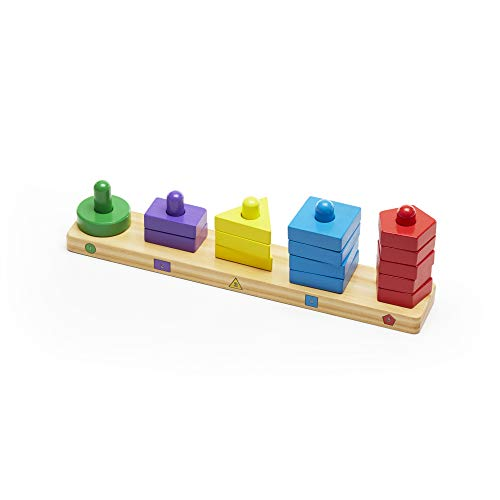 31R7L0kjIlL - Melissa & Doug Stack and Sort Board - Wooden Educational Toy With 15 Solid Wood Pieces