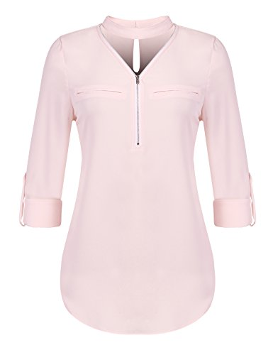 Pinspark Women's Zip Up Choker V Neck Top Long Sleeve Tunic Shirt Office Blouse