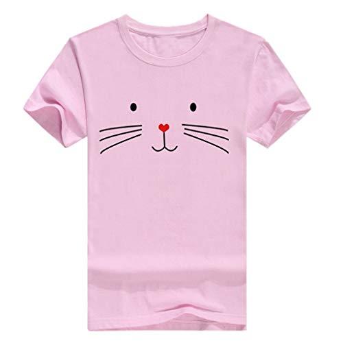 cd57983052d ASERTYL Womens Summer Short Sleeve Casual O-Neck Cute Cat Print Tops Tee  Shirts Blouse