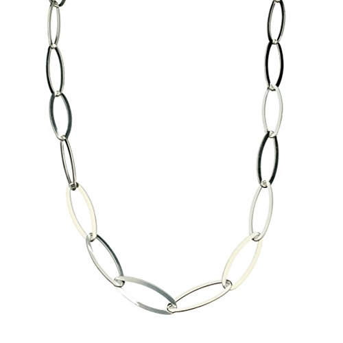 Sterling Silver Flat Oval Nickel Free Chain Necklace Toggle Clasp Italy,
