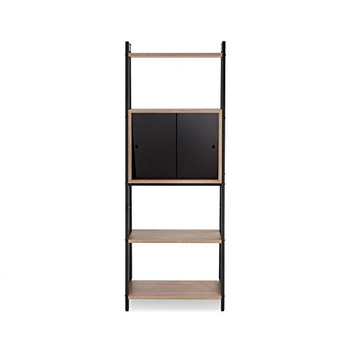 Ladder Bookcase With 4 Open Shelves Areas For You To Organize and Sliding Doors For Colsed Storage With One Shelf Behind Made of Wood And Black Glass by eCom Fortune