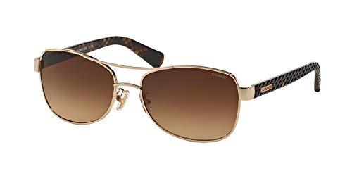 Coach Women's HC7054 Sunglasses Light Gold/Dark Tortoise/Brown Gradient 56mm