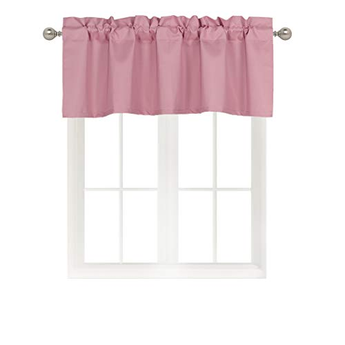 Home Queen Solid Rod Pocket Blackout Curtain Valance Window Treatment for Living Room, Short Straight Drape Valance, Set of 1, 54 X 18 inch, Peach ()