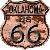 Bargain World Route 66 Oklahoma Rusty Highway Shield Novelty Metal Magnet (Sticky Notes)