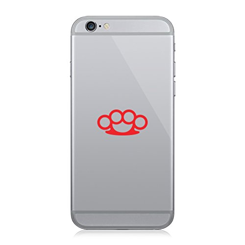 Pair of Brass Knuckles Cell Phone Stickers Mobile - Red
