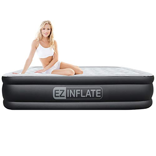 EZ INFLATE Dual Pump Technology Queen air Mattress with Built in Pump, Luxury Queen Size airbed, Inflatable Mattress for Home Camping Travel, Queen Blow up Bed, 2-Year Warranty