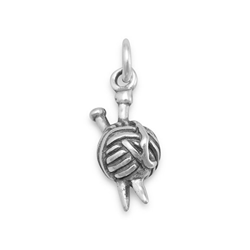 Sterling Silver Knitting Needles Ball of Yarn Charm