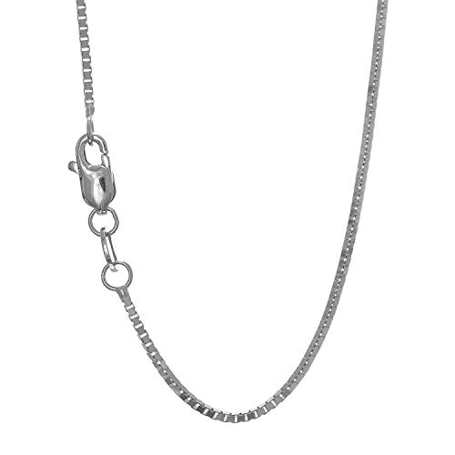JewelStop 10k Solid White Gold 1 mm Box Chain Necklace, Lobster Claw Clasp - 18