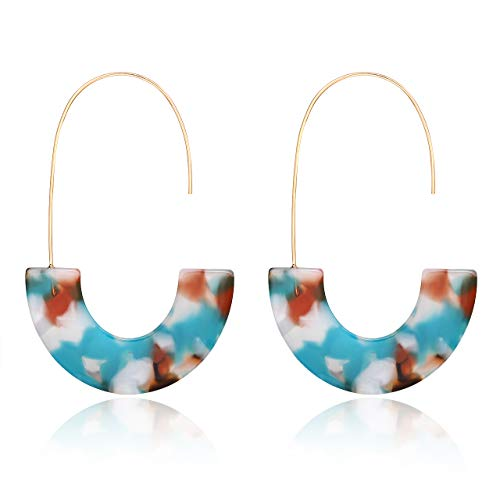 - MOLOCH Acrylic Earrings Statement Tortoise Hoop Earrings Resin Wire Drop Dangle Earrings Fashion Jewelry for Women (Bule)