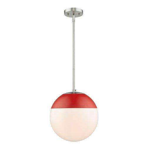 Golden Lighting 3218-L PW-RED One Light Pendant Slvr