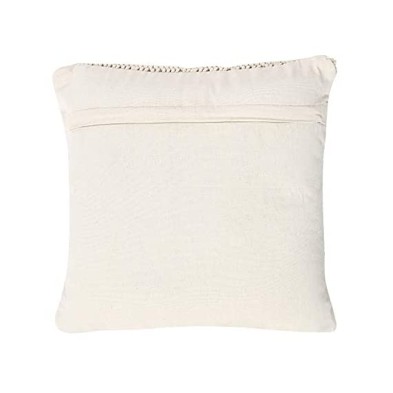 """REDEARTH Macrame Throw Pillow Cushion Covers-Woven Decorative Farmhouse Square Cases Set for Couch, Sofa, Bed, Farmhouse, Chair, Dining, Patio, Outdoor, car; 100% Cotton (18x18; Natural) Pack of 2 - 100% Cotton; 18 x 18 Inch / 45 x 45cm (1-1.5 cm deviation) Set of 2 decorative cushion covers. They fit perfectly on 18""""x18"""" pillow inserts/fillers. For a fuller and plump look, 20x""""20"""" filler can be used. PILLOW INSERTS ARE NOT INCLUDED. The bohemian throw pillow cases are made up of hand knotted macrame in the front and cotton canvas at the back. These cushion covers can add a touch of elegance to any kind of décor and living space. Hidden zipper used for seamless look and durability; the product is tested for shrinkage, color fastness and seam slippage - patio, outdoor-throw-pillows, outdoor-decor - 31R7W7mrkKL. SS570  -"""