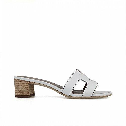 Fresca Playa de 38 Zapatos Sandalia una Grueso Chic H con Zapatillas Reales DHG con Blanco nvxZP8Awnq