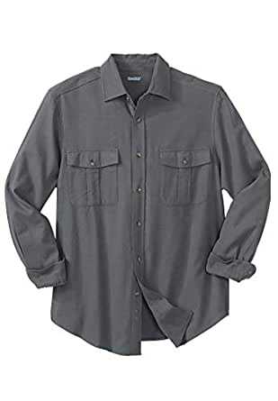 KingSize Men's Big & Tall Solid Double-Brushed Flannel Shirt, Steel Big-2Xl